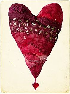 Dishfunctional Designs: Creative Valentine's Day Ideas I would make using scrapbook paper on a heart added to a canvas with the bead embellishment Heart Day, I Love Heart, Happy Heart, Creative Valentines Day Ideas, Creative Ideas, Carolyn Saxby, Fabric Hearts, Textiles, Heart Crafts