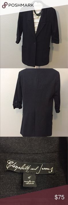 """Elizabeth and James Jacket Gorgeous blazer by Elizabeth and James. With 3/4 length rouched sleeves and measures 17"""" armpit to armpit and 29.5"""" long. No stains or tears and in like new condition. Elizabeth and James Jackets & Coats Blazers"""