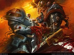Clash of Warriors by Alexandru Sabo Warhammer 40k Art, Warhammer 40k Miniatures, Warhammer Fantasy, Grey Knights Wallpaper, Knight Art, Space Marine, Sci Fi Fantasy, Art Portfolio, Online Art