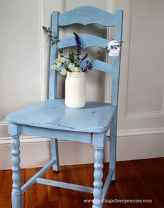 Blue Shabby Chic Chair Annie Sloan Chalk by FindingSilverPennies, $45.00