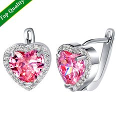 Find More Stud Earrings Information about New Trendy bijuterias 2016 orelha brincos Heart Love Fashion Engagement Pink Stone Earrings Unique Sterling Silver Jewelry R719,High Quality jewelry fashion and accessories show,China jewelry word Suppliers, Cheap jewelry box necklace holder from ULOVE Fashion Jewelry Official Store on Aliexpress.com
