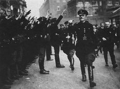 Sir Oswald Mosley  inspecting some of his British Union of Fascists followers.