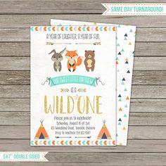 Wild One Invitation Woodland Animals Birthday Party Wild