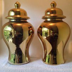 Oh-so-glam ceramic #metallic #gold #gingerjars. Measuring 54,5cm (H) x 29cm (B). Sold at R1200 each. Visit www.kieckandcompany.com