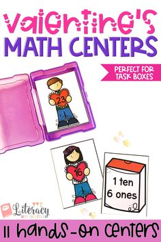 These Valentine's themed math centers fit perfectly into photo storage boxes for wonderful grab and go centers. There are 11 centers that work on a variety of math skills so that you can pick and choose centers to differentiate to meet the needs of your students. These centers are hands-on and interactive.  Work on counting, adding tens, place value, graphing, tally marks, ten frames, addition and more.  Perfect for Kindergarten and 1st Grade.