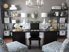 Dining room turned home office. Absolutely stunning redesign! #office #flowers #mirror #lamps