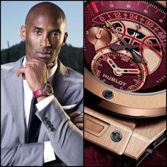 "Hublot's Big Bang UNICO Chronograph Retrograde Kobe ""Vino"" Bryant.  This time piece brings together a blend of fine wine watch making and basketball.  Hublot and their ambassador Kobe Bryant have created the first timepiece to follow the game of basketball. The Chronograph Retrograde is designed to time the two halves of the game. The dial features a prominent basketball design integrated into a matte burgundy disc. The rich burgundy color brings together the Kobe's early childhood in Italy…"