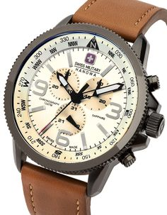 Swiss Military 6-4224-30-002 Mens Arrow Brown Chronograph Watch