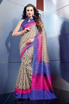 Multi color Art Silk Designer Printed Saree For Her