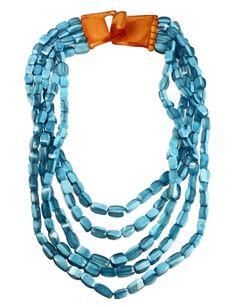 Dominique Denaive 5 Strand Blue  Resin Bead #Necklace