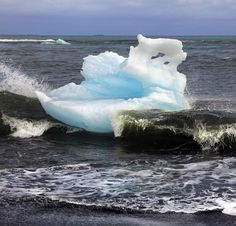 Surfing Iceberg on Iceberg Beach Iceland 2011