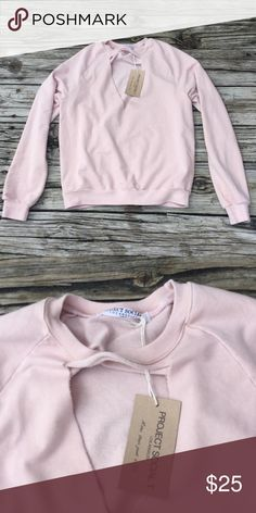 Project Social T Pink Bre Sweatshirt xs New. Just didn't work for me. Project Social is one of my favorite brands. The material is soft with just the right amount of stretch. There is a choker design, deep v cutout in the front. Retails for $58 at Revolve Clothing or Lulu's Project Social T Tops Sweatshirts & Hoodies