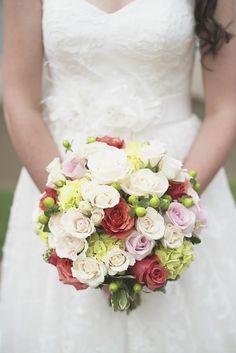 Catholic Church Summer Wedding | Watermelon pink and green bride's bouquet