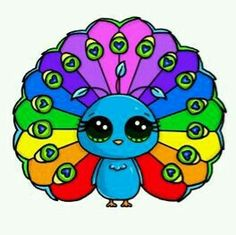 Pavo real colorido kawaii