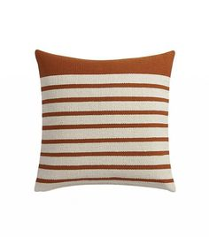 Upcycled yarn spins a fresh color story in a nubby, earthy weave of rust/natural stripes. Wide rust border on one end keeps things unpredictable. Cotton/acrylic pillow flips to cotton in natural. Striped Sofa, Accent Pillows, Throw Pillows, Bedroom Orange, Rust Color, Pillow Inserts, Decorative Pillows, Division, Home Decor