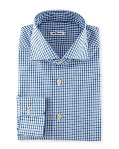 """Box-Check Woven Dress Shirt, Blue, Men's, Size: 16.5"""" - Kiton"""