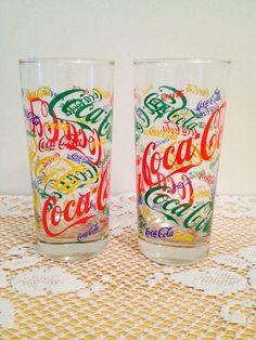Coca-Cola Drinking Glasses Name Written All Over Multi-Color Coke Collectible picclick.com