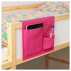 IKEA STICKAT bed pocket Clever storage solution that you can hang on our children's beds. Book and drink holder. Somewhere safe to put her tablet so she doesn't try and climb down with it. Ikea Bedroom Storage, Bedside Storage, Wall Storage, Bed Pocket, Bedside Pocket, Murphy Bed Ikea, Kids Bunk Beds, Dorm Bunk Beds, Ikea Bunk Bed