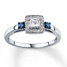 Blue/White Diamond Ring 1/3 carat tw 10K White Gold