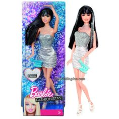 "Barbie Fashionistas 12"" Doll - RAQUELLE (Y7492) in Neck Strap Glittering Silver Party Dress with Ring and Purse"