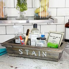 Put together a stain station, with all the tools you need to get out every possible stain. | 29 Brilliant Ways To Organize Your Laundry Room