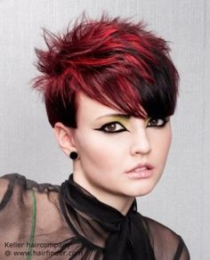 Daring pixie cut with black and red color contrasts.
