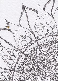 https://flic.kr/p/aiMnsR | Sunflower 3 of 4 ATC Not for trade | Micron pen on watercolor paper. Will be for trade at the Zentangle Certification Course in October 2011.