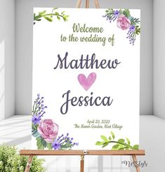 Simple and white floral Wedding Welcome Sign Design. Perfect for both indoor and outdoor. Can be displayed on rustic or romantic themed weddings. Manor Garden, Themed Weddings, Wedding Welcome, Sign Design, Christening, Creative Art, Floral Wedding, Signage, Birthdays
