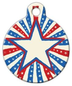 Patriotic Star  Custom Pet ID Tag for Cats and Dogs  Dog Tag Art  LARGE SIZE ** Check this awesome product by going to the link at the image.