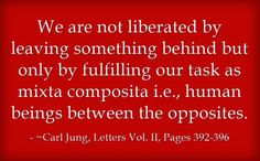 We are not liberated by leaving something behind but only by fulfilling our task as mixta composita i.e., human beings between the opposites. ~Carl Jung, Letters Vol. II, Pages 392-396