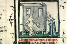 """Ovide, Métamorphoses (1385 env.), Bibliothèque municipale de Lyon, Ms.742, f°97v, """"Pallas allant voir tisser Arachné"""""""