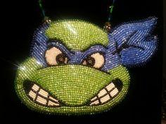 TMNT Beaded Leonardo Pendant by BeadworkByAbriel on Etsy, $125.00