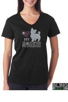 Love My Morkie - Morkie T-Shirt, Morkie Bling - Morkie Tee Morkie Shirt - SHIPS starting Jan 4, 2016 by BlingByCricket on Etsy