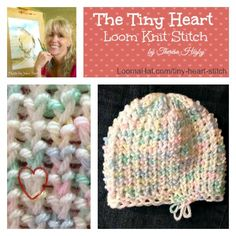 Tiny Heart Stitch - A new Beautiful and dense loom knit stitch. FREE Pattern and Step by Step easy to follow Video Tutorial. Easy enough for beginners.