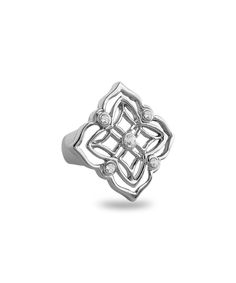 Amabel Designs White Crystal & Silvertone Clover Ring | zulily