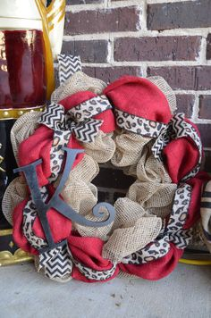 Hey, I found this really awesome Etsy listing at https://www.etsy.com/listing/175893248/red-burlap-wreath-with-leopard-red-and
