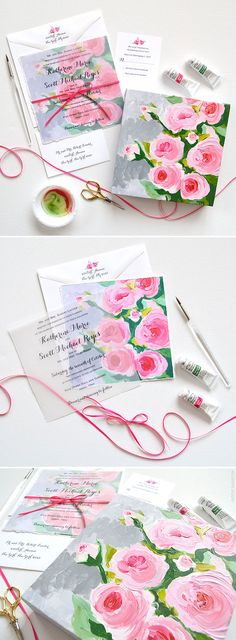 Floral Fine Art Hand Painted Wedding Invitations - The design features original acrylic painted rose flower art, hand torn edging, and a hand tied satin ribbon bow. Available online soon www.mospensstudio.com