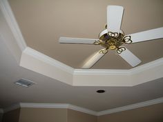 tray ceilings | tray ceiling in Master Bedroom; ceiling fan