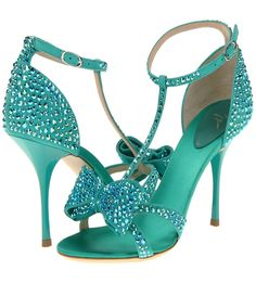 Giuseppe Zanotti Rhinestone T-Strap Bow Sandals in turquoise Cute Shoes, Me Too Shoes, Azul Tiffany, Tiffany Blue, Giuseppe Zanotti Heels, Zanotti Shoes, Beautiful High Heels, Bow Sandals, Gold Shoes