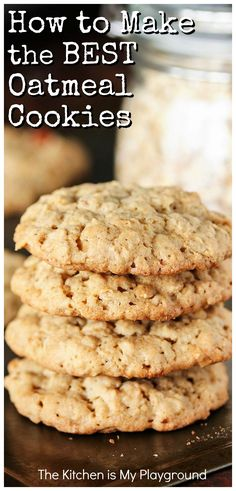 How to Make the BEST Oatmeal Cookies ~ Bringing together the wonderful elements of great thickness, soft and chewy middles, great texture, and fantastic flavor, this Oatmeal Cookie recipe is truly the BEST. Whip up a tasty batch today! #oatmealcookies #oatmealcookierecipe #bestoatmealcookies www.thekitchenismyplayground.com Healthy Oatmeal Cookies, Oatmeal Cookie Recipes, Oatmeal Chocolate Chip Cookies, Oatmeal Cookies With Applesauce, Soft Chewy Oatmeal Cookies, Quick Oat Cookies, Easy To Make Cookies, Healthy Cookie Recipes, Crack Crackers