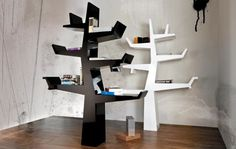 Black And White Modern Tree Bookshelf
