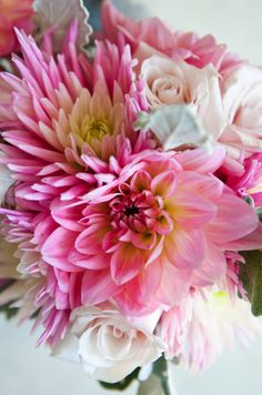 All of a sudden I am in love with Dahlia's! pink-dahlia-roses-bridesmaid- bouquet 1