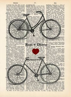Custom Bicycle Art Print  - Wedding - Anniversary - Personalized - Names - Date His and Hers. $12.00, via Etsy.