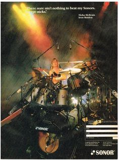 sonor drums - nicko mcbrain of iron maiden - 1987 ad