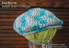 Ravelry: Rad Rayon Infant Donegal/ Golf Cap pattern by Lorene Haythorn Eppolite- Crochet Crochet Bebe, Crochet For Boys, Crochet Baby Hats, Baby Knitting, Free Crochet, Crocheted Hats, Double Crochet, Single Crochet, Crochet Crafts