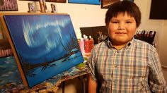 Joshua Wedzin has watched his father, well-known Tlicho artist James Wedzin, paint the northern landscape. Now the youngster is creating — and selling — his own works of art. Joshua James, Erin Hanson, American Psychological Association, Good News Stories, Canadian Art, Happy Art, 9 Year Olds, Old Art, First Nations