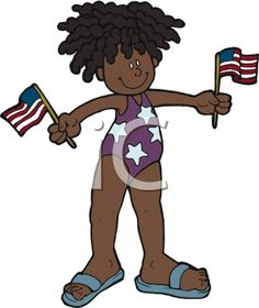 iCLIPART - Young Girl Waving Two US Flags Cartoon