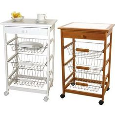 """Put the """"kitchen trolley natural / white tile top kitchen counter / kitchen rack and kitchen storage / vegetable / Stocker / cart / basket / baskets / Nordic / country / stylish / wood / natural wood / steel / drawer / storage / trundle / cooker / w"""