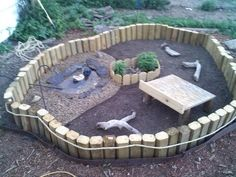 Outdoor baby tortoise pen ideas; Oh my the possibilities of those wood pieces! My turtle is gonna have a paradise!