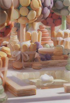Will Cotton, Macaron Garden, 2012, oil on linen, 40 x 27 inches. Courtesy of the artist and Mary Boone Gallery